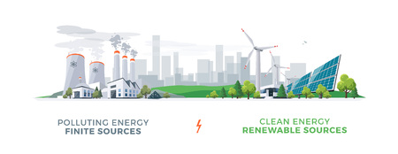 Vector illustration showing clean and polluting electricity generation production. Polluting fossil thermal coal and nuclear power plants versus clean solar panels and wind turbines renewable energy. Vettoriali