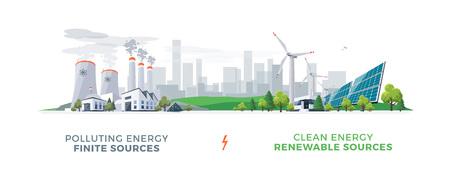 Vektorillustration, die saubere und verunreinigende Stromerzeugungsproduktion zeigt. Verschmutzung fossiler thermischer Kohle- und Kernkraftwerke im Vergleich zu sauberen Sonnenkollektoren und erneuerbaren Windenergieanlagen. Vektorgrafik