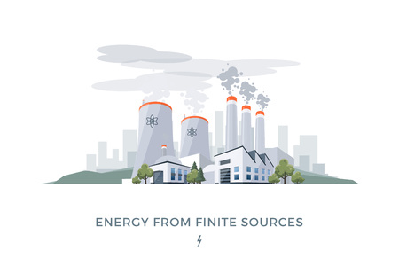Vector illustration of polluting electric energy from finite sources coal and nuclear.