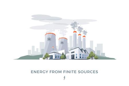 Illustration vectorielle de l'énergie électrique polluante à partir de sources finies de charbon et nucléaire. Vecteurs