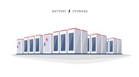 Ilustración vectorial de gran batería recargable de iones de litio de almacenamiento de energía estacionaria sobre fondo blanco.