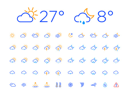 Set of 50 simple modern thin line weather icons for web or mobile app. Clean sharp outline flat design with day and night. Easy to change width of lines. Blue color style on white backround.
