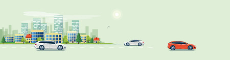 Flat vector cartoon style illustration of urban landscape road with cars, skyline city office buildings in small town isolated on green background.