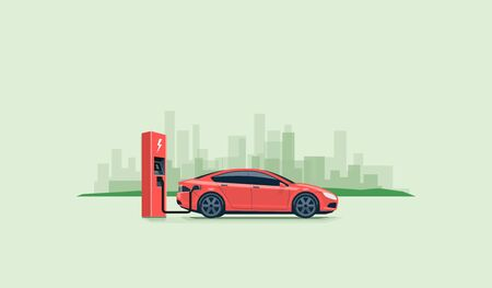 Flat vector illustration of a red electric car charging at the charger station on the street with green city skyline in the background.