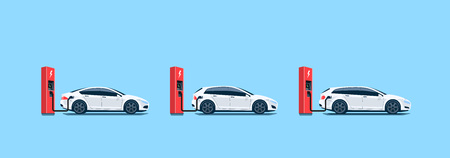 Flat vector illustration of white electric cars parking on the street and charging at the charger stations isolated on light blue background.