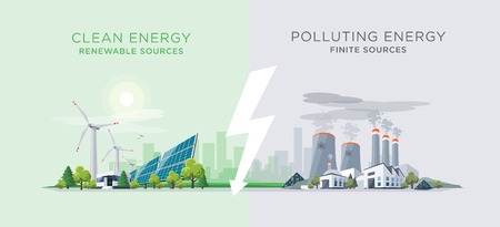 Vector illustration showing clean and polluting electricity generation production.