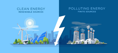 Vector illustration showing clean and polluting electricity generation production. Polluting fossil thermal coal and nuclear power plants versus clean solar panels and wind turbines renewable energy. 向量圖像