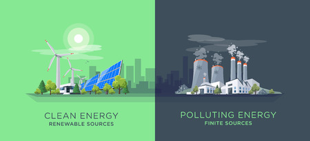 Vector illustration showing clean and polluting electricity generation production. Polluting fossil thermal coal and nuclear power plants versus clean solar panels and wind turbines renewable energy.  イラスト・ベクター素材