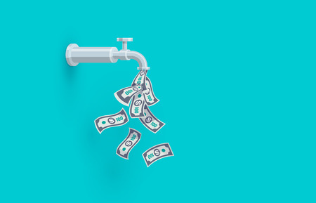 A faucet on the wall is dripping open money dollar bills instead of water. Passive income concept. Flat vector illustration on blue green background.