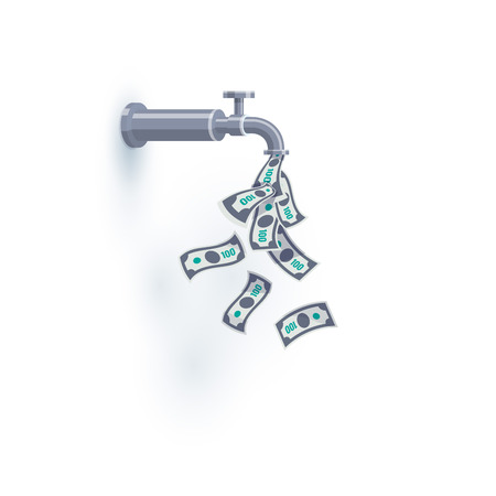 A faucet on the wall is dripping open flying money dollar bills instead of water. Passive income concept. Flat vector illustration isolated on white background. Ilustração