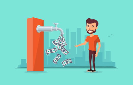 A faucet on the ATM machine is dripping open money dollar bills to a smiling man. Passive income concept. Flat vector illustration on blue green skyline background. 向量圖像