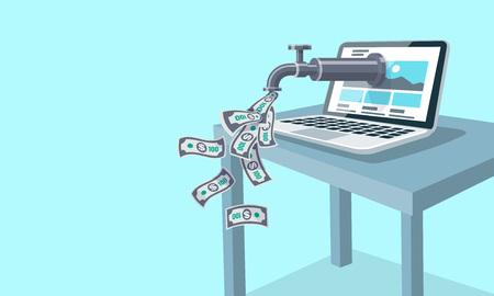 Concepto de ingresos en línea de internet pasivo. Un grifo de la computadora sobre una mesa gotea dinero. Billetes volando por todas partes. Ilustración de vector plano sobre fondo azul.