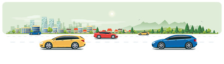 Flat vector cartoon style illustration of urban landscape street with cars, skyline city office buildings, family houses in small town and mountain with green trees on white backround. Road traffic.