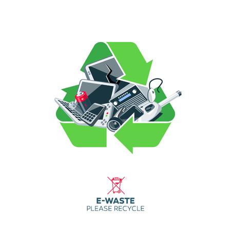 Vecchi rifiuti elettronici scartati all'interno del simbolo di riciclaggio verde. Illustrazione di concetto di rifiuti elettronici con dispositivi elettrici come monitor di computer, telefono cellulare, televisione, videocamera, tastiera, mouse.