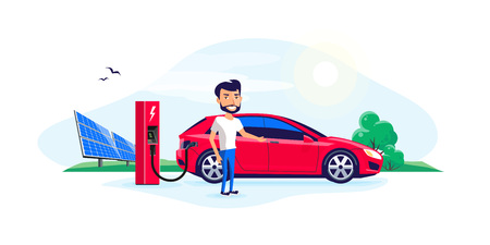 Flat vector illustration of a electric car charging at the charger station with a young smiling man. Green trees nature and solar panels in the background. Electromobility e-motion concept.