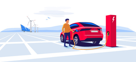 Modern electric suv car charging at the charger station with a young man holding the cable. Wind turbines and solar panels in background. E-motion flat vector illustration concept. 向量圖像