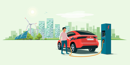 Modern electric suv car charging at the charger station with a young man holding the cable. Wind turbines and solar panels with urban landscape in background. Flat vector illustration concept. Illustration