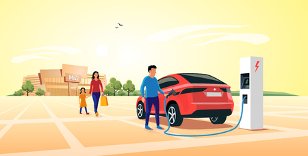 Electric suv car parking at the charger station in front of shopping mall. Young family shopping while the electro car is recharging batteries. Flat vector illustration concept.