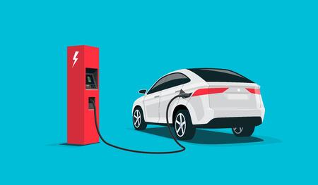 Ilustración de vector plano de un suv de coche eléctrico blanco que se carga en la estación de carga roja. Concepto e-motion de electromovilidad. Ilustración de vector