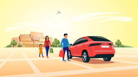 Young shopping family coming out of shopping mall and approaching their family suv car parking in front of the shop. Flat vector illustration concept.