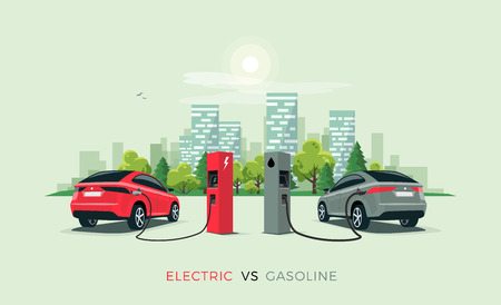Vector illustration comparing electric versus gasoline car suv. Electric car charging at charger station vs.