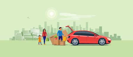 Illustrazione vettoriale piatta di un uomo con la famiglia proveniente dallo shopping e dal caricamento del bagagliaio dell'auto con scatole di cartone di acquisto. Il grande box TV di grandi dimensioni non si adatta. Centro commerciale e città sullo sfondo.