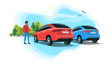 Flat vector illustration of an young man standing next suv car on parking lot with trees and sky. Person having a rest on long trip on rest stop area. 向量圖像