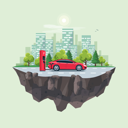 Flat vector illustration of a red electric car charging at the charger station on the street with green city skyline on the flying earth globe island landscape. Electromobility e-motion concept.
