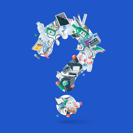 Waste creating question figure. Illustration of trash like, paper, plastic, glass, metal, e-waste, batteries, light bulbs and mixed garbage forming a question mark. Vector concept in cartoon style.