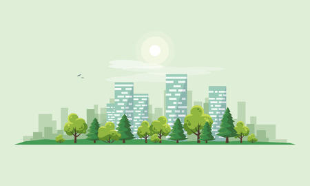 Flat vector illustration of urban road landscape street with city office house buildings and green trees on skyline background in cartoon style. 向量圖像