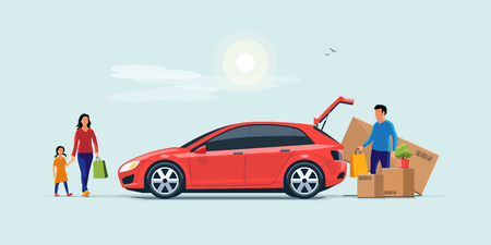 Flat vector illustration of a man with family coming from shopping and loading the car trunk with purchase carton boxes. Oversized big tv box doesnt fit. Isolated on blue background.