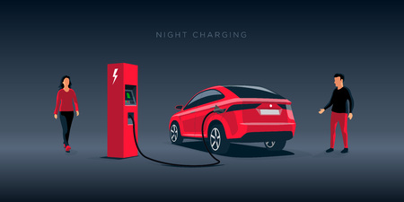 Vector illustration of a luxury red electric car suv charging at the charger station during night time low demand electricity. Man and woman approaching the vehicle. Night off-peak car charging. Illustration