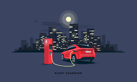 Vector illustration of a red electric car suv charging at the charger station during night time low demand of electricity. Dark city building skyline in the background. Night off-peak car charging. Illustration