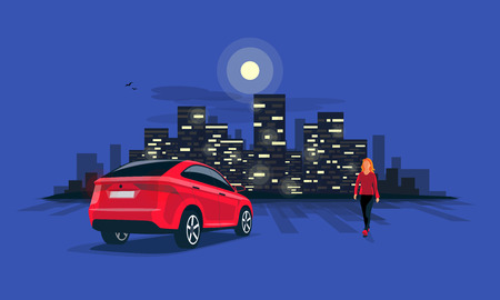 Vector illustration of a red car suv parking on the street at night with young woman walking silhouette. Dark city building lights skyline illustrated in the blue road background.