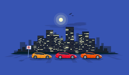 Urban vector illustration of night city skyscrapes skyline office building with modern cars parking along the town street in cartoon style. Vehicles parked wrong road with no parking sign.