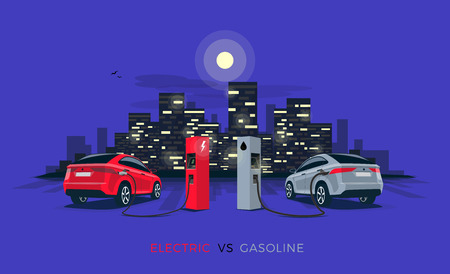 Vector illustration comparing electric versus gasoline car suv. Electric car charging at charger station vs. fossil car refueling petrol at gas station. Night city building skyline in the background.