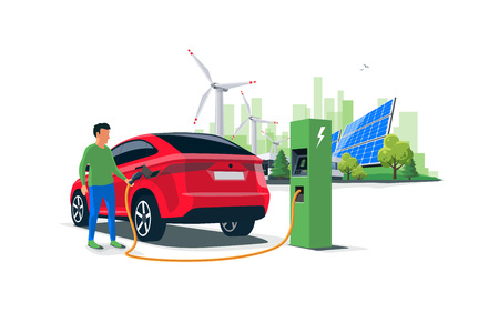 Electric suv car charging at the charger station with a young man holding the cable. Wind turbines and solar panels with green city skyline in background. Isolated flat vector illustration concept Vettoriali