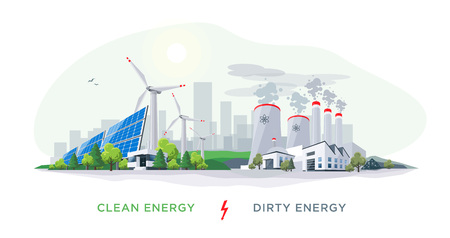 Vector illustration showing clean and dirty electricity generation production. Polluting fossil thermal coal and nuclear power plants versus clean solar panels and wind turbines renewable energy.