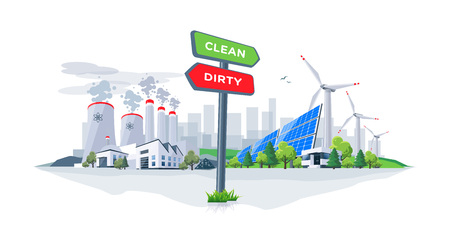 Vector illustration showing directional sign to clean or dirty electricity factory production. Polluting fossil thermal coal power plant versus clean solar panels and wind turbines renewable energy. 向量圖像