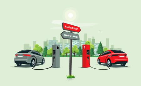 Illustration vectorielle comparant la voiture électrique à la voiture à essence avec panneau directionnel. Chargement d'une voiture électrique à la station de charge par rapport à une voiture fossile qui fait le plein d'essence à la station-service. Toits de la ville en arrière-plan.