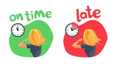 Comparar a la persona que llega a tiempo y que llega tarde. Joven mujer rubia apresurada con reloj de pulsera mirando en el reloj de pared que muestra el retraso. Ilustración de vector de dibujos animados aislado sobre fondo blanco.