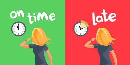 Comparando persona que llega a tiempo y que llega tarde. Joven mujer rubia apresurada con reloj de pulsera mirando en el reloj de pared que muestra el retraso. Ilustración de vector de dibujos animados sobre fondo rojo verde. Tarde al trabajo. Ilustración de vector