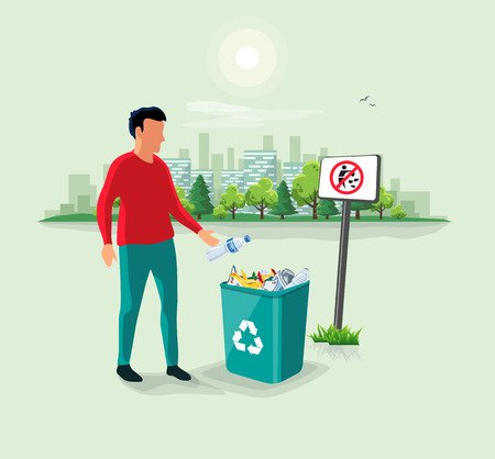 Caucasian person man throwing a plastic bottle waste in green garbage bin. No littering sign and urban city landscape park in the background. Flat vector trash illustration. Rubish recycling concept.