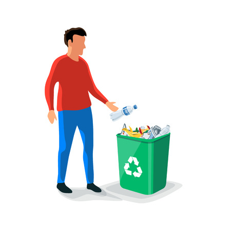 Caucasian person man throwing a plastic bottle waste in green garbage bin. Isolated flat vector trash illustration on white background. Rubish recycling concept. 向量圖像