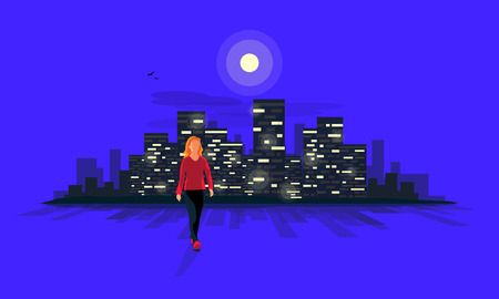 Vector illustration of a young woman silhouette walking on a street at night with dark urban lanscape city building lights and moonlight skyline illustrated in the blue road background.