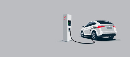 Vector illustration of a luxury white electric car suv charging at the electro charger station. Car battery getting fast recharged. Clean vector illustration isolated on grey background.