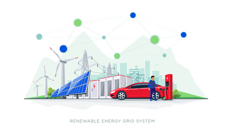 Flat vector illustration of renewable energy blockchain connected system. Electric car charging at charger station with solar panels, wind turbines, battery storage, high voltage power grid and city.