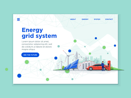 Landing page template of connected renewable energy blockchain. Electric car, solar panels, wind turbines, battery storage, high voltage power grid, city. Flat vector concept of web design or website.