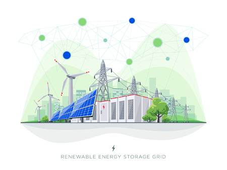 Renewable energy smart grid blockchain connected system. Flat vector illustration of solar panels, wind turbines, battery storage, high voltage electricity power transmission grid and city skyline.