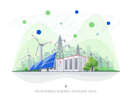 Sistema connesso blockchain di smart grid di energia rinnovabile. Illustrazione vettoriale piatta di pannelli solari, turbine eoliche, accumulatori di batterie, rete di trasmissione di energia elettrica ad alta tensione e skyline della città.